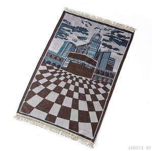 Image 1 - New Kaaba Pattern Islamic Prayer Carpet Muslim Rug Products Red Carpet Jute Mat Rectangle Patchwork Vintage Rug with Tassel Edge