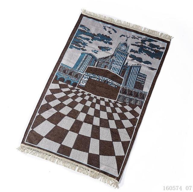 New Kaaba Pattern Islamic Prayer Carpet Muslim Rug Products Red Carpet Jute Mat Rectangle Patchwork Vintage Rug with Tassel Edge