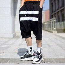 Летние новые мужские штаны с крестиками белый женский эластичный пояс хип хоп мешковатые уличные мужские черные повседневные короткие свободные штаны мужские