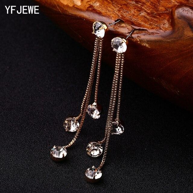 Yfjewe Новая мода капля серьги горный хрусталь краткое личность кисточкой долго дизайн сережки из сверкающих кристаллов женские серьги E059