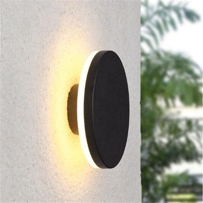 Modern Waterproof Square/Round Black Aluminum Led Wall Lamp for Bathroom Bedroom Aisle Corridor Porch Light 110/220V