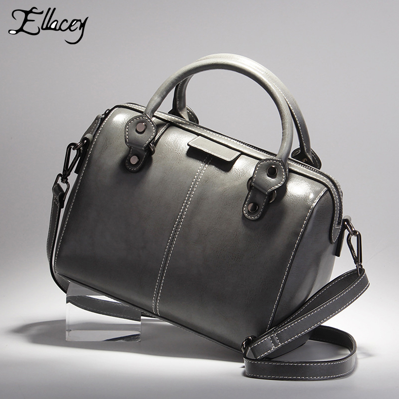 Ellacey New High Quality Women Boston Handbag Luxury Tote Bag Ladies Genuine Leather Shoulder Bags Soft Leather Pillow Handbags soft cowhide genuine leather women shoulder bags fashion handbags simple european style boston messenger bag pillow female packs