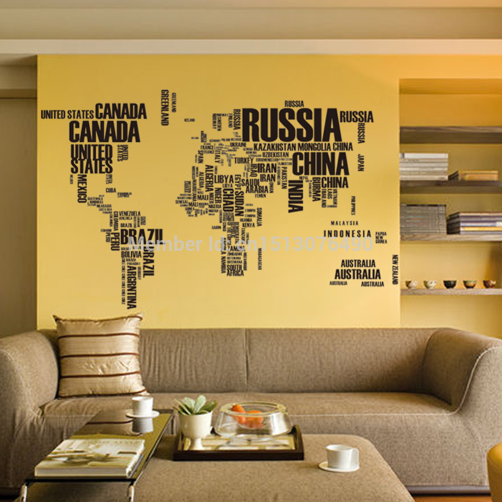 Black Letters World Map Wall Stickers Home Decor Living Room Office ...
