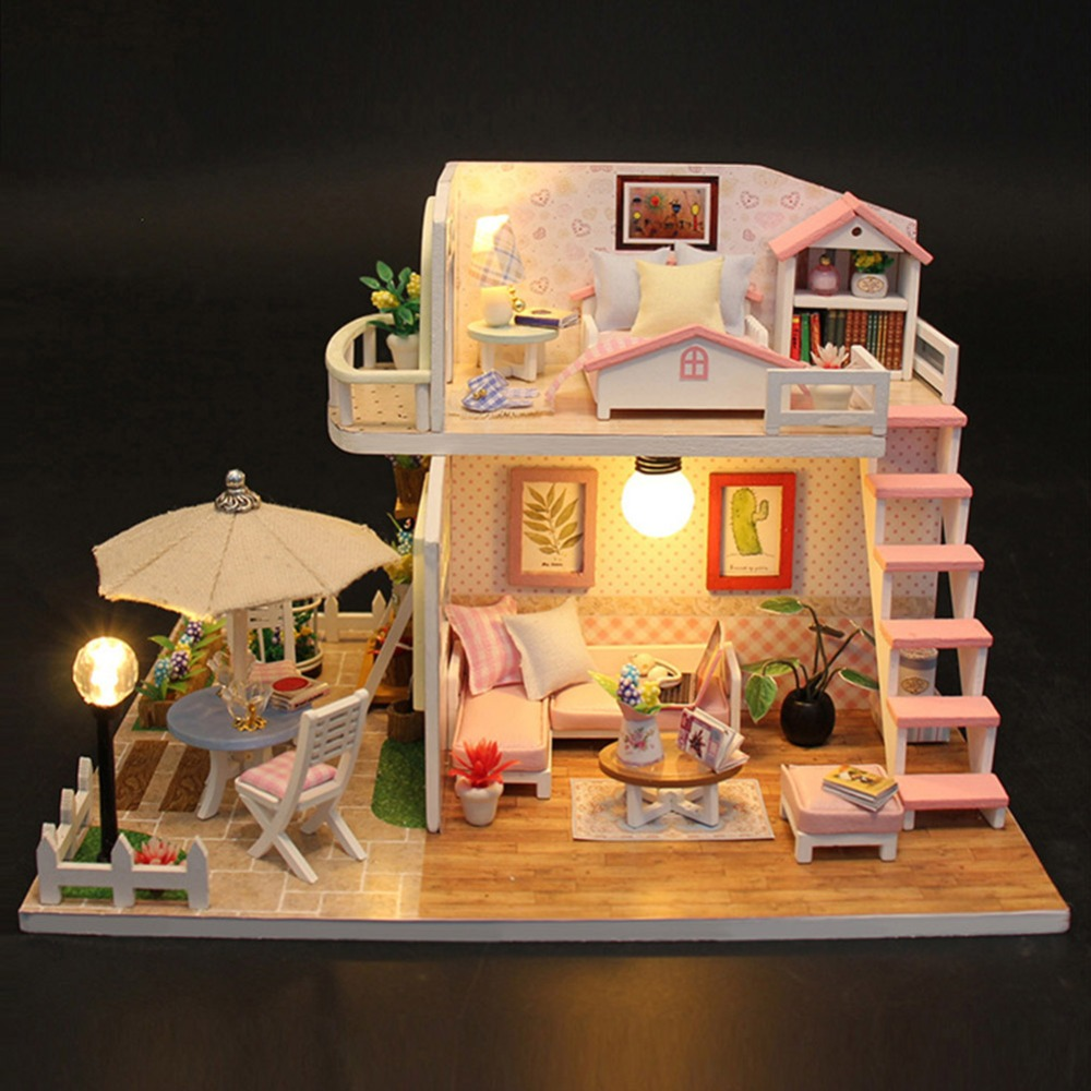 New Doll House Toy Miniature Wooden Doll House Loft With: VKTECH Handmade Wood Flash Loft DIY House Toy Miniature