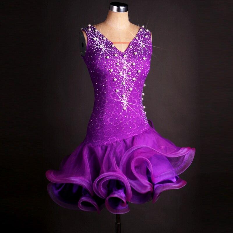 Latinské soutěžní taneční sukně pro ženy Vysoce kvalitní dámská elegantní fialová lesklá Sumba Rumba Chacha Latinské taneční šaty
