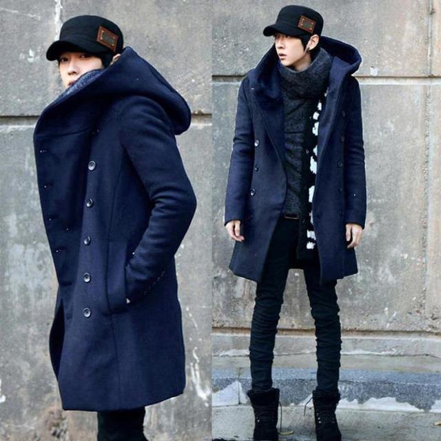 ZEESHANT Fashion Cheap Mens Pea Coat With Hood Double Breasted Long Wool Trench Coat Men Pea Overcoat in Men's Wool&Blend