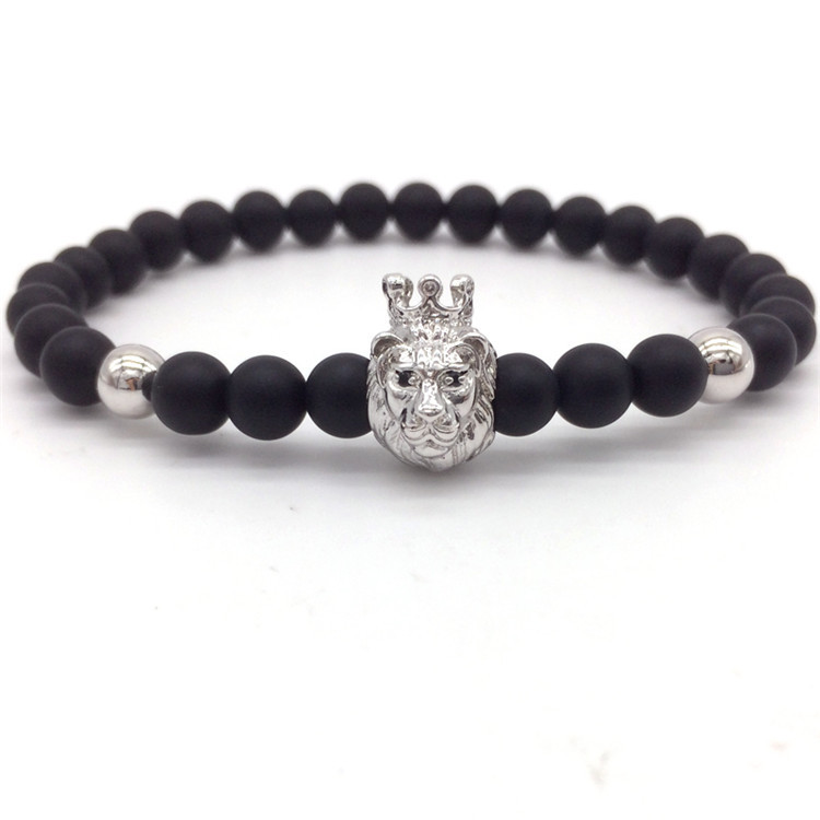 NAIQUBE 2018 Fashion New 6MM Lion Crown Men Bracelet Classic Stone Beaded Charm Bracelets & Bangles For Men Jewelry Gift
