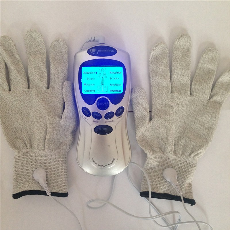 1pair electric tens acupuncture therapy vibrating shock massager with conductive electrode glove physiotherapy muscle stimulator tens therapy 16mode electrical stimulator full body relax muscle therapy massager with conductive gel and conductive glove