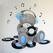 "Full Square/Round Drill 5D DIY Diamond Painting ""Cartoon Music bear"" 3D Embroidery Cross Stitch Mosaic Rhinestone Decor Gift"