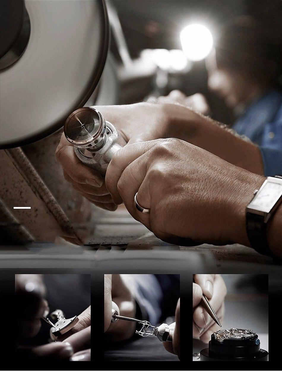 Lige marca relógios masculinos automático relógio mecânico