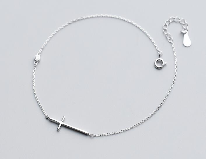 100% Authentic Real. 925 Sterling Silver Fine Jewelry Jesus Polished Cross Religion Anklet Bracelet GTLS701