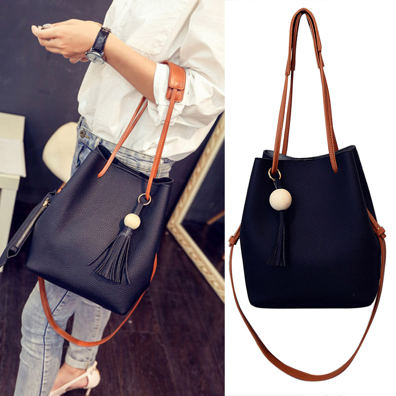 Women PU Leather Bucket Bag With Small Handbag Satchel Bag New