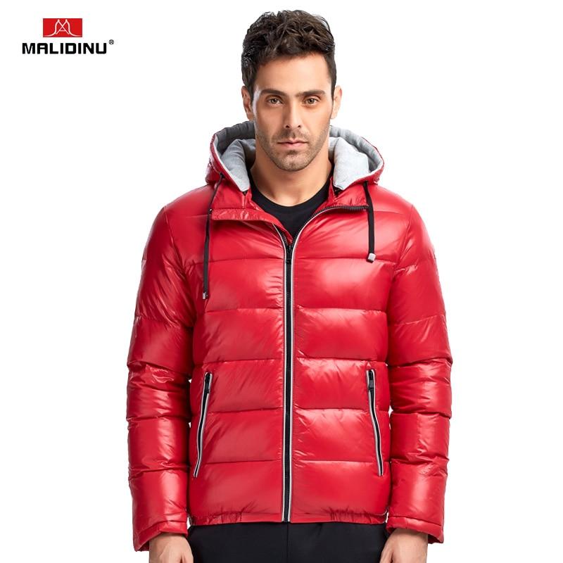 MALIDINU 2019   Down   Jacket Men Brand Winter   Down     Coat   Thick Winter Jacket Hooded Red Duck   Down   Jacket Men Sports Warm Jacket -30C