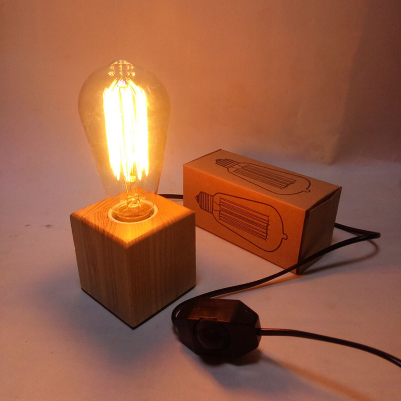Personality retro Edison table lamp log village industrial E27 tungsten bulb for bedside lamp night light