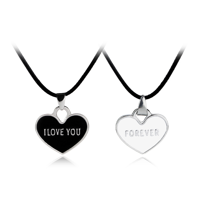 Couple Necklace Jewelry Creative Print Letters I Love You Forever Black and White Heart  ...