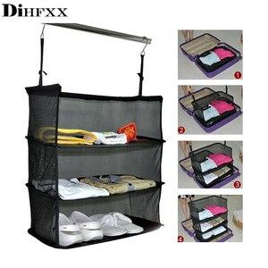 DIHFXX 3-слойный портативный дорожный стеллаж для хранения одежды, держатель, сетчатый мешок для хранения, крючок, подвесной чемодан-органайзе...