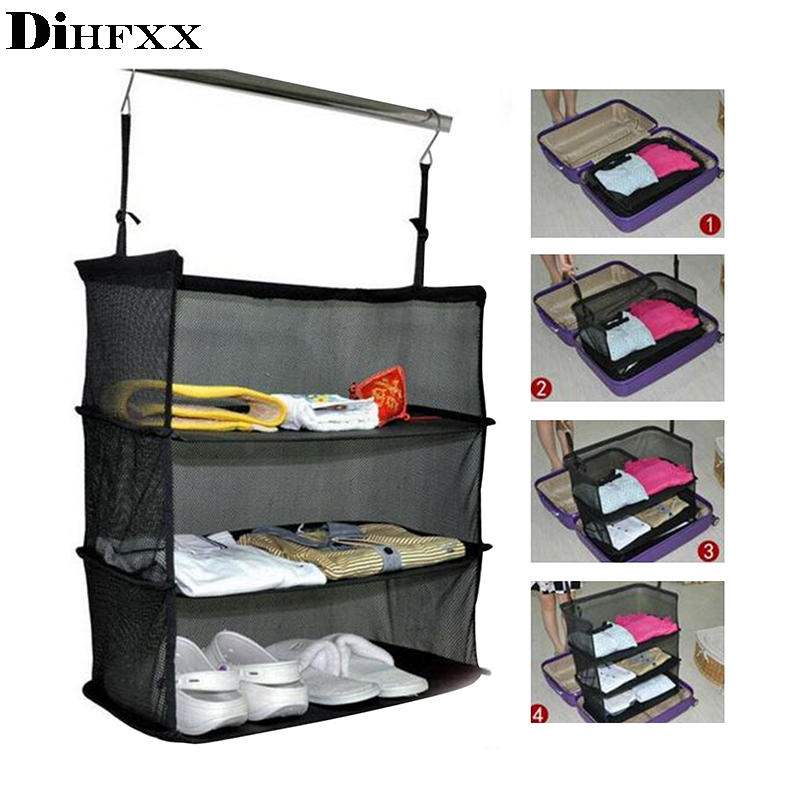 DIHFXX 3 Layers Portable Travel Clothes Storage Rack Holder Storage Mesh Bag Hook Hanging Organizer Suitcase Travel Accessories