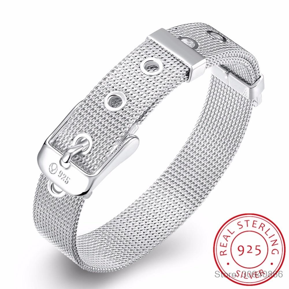 LEKANI conception de ceinture à la mode pur 925 en argent Sterling bijoux fins Bracelet Top qualité 10mm montre chaîne pour femme homme cadeau