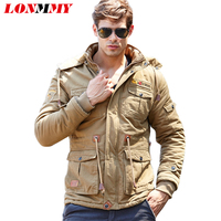 2016 Winter Jacket Men Velvet Thick Warm Bomber Hoodies Cotton Jaquetas Military Men Jacket Hooded Casual