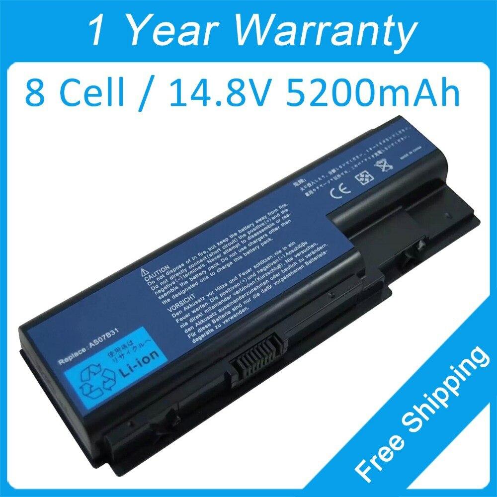 Nuevos 8 5200 mah batería del ordenador portátil para acer TravelMate 7730 7230 7530 7330 7530 G 7730 G AS07B72 AS07B31 AS07B32 JIGU batería del ordenador portátil para Acer AS07B31 AS07B32 AS07B41 AS07B42 AS07B51 AS07B52 AS07B71 AS07B72 AS07B31 AS07B51 AS07B61