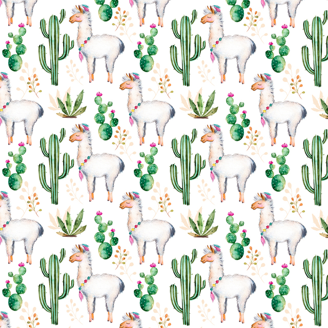 animal and plant themes photography backdrops alpaca cactus pattern
