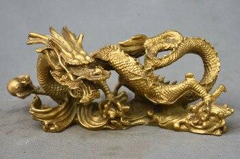 Crafts statue 8 Chinese FengShui Pure Copper Brass Auspicious Beast Zodiac Dragon Totem Statue halloween