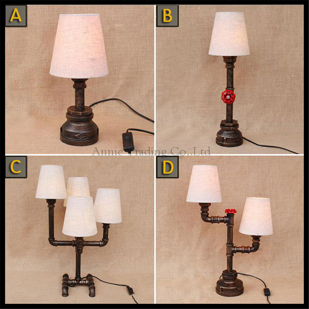 2017 New Fabric Lampshade Pipe desk lamp LOFT American Industry Vintage Nostalgia Wrought Iron Water Pipe desk table lighting led lamp creative lights fabric lampshade painting chandelier iron vintage chandeliers american style indoor lighting fixture