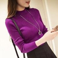 New Winter Dress Korean All Match Slim Slim Turtleneck Pullover Sweater Back Half Female Temperament