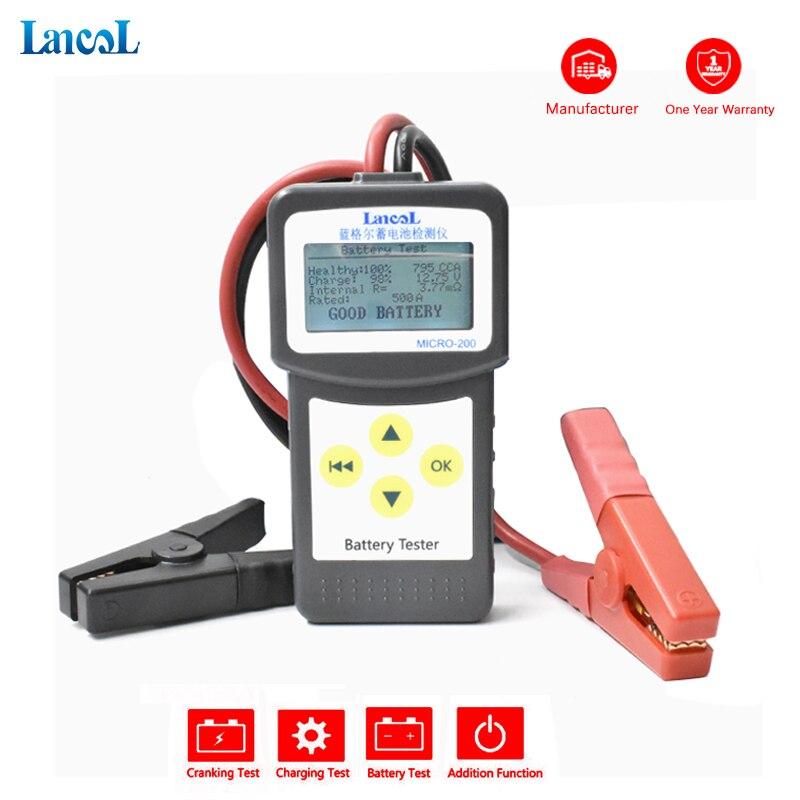 Lancol fábrica micro 200 CCA100-2000 testador de bateria 12 v diagnosticcar automotivo ferramentas bateria para carros analisador bateria tester