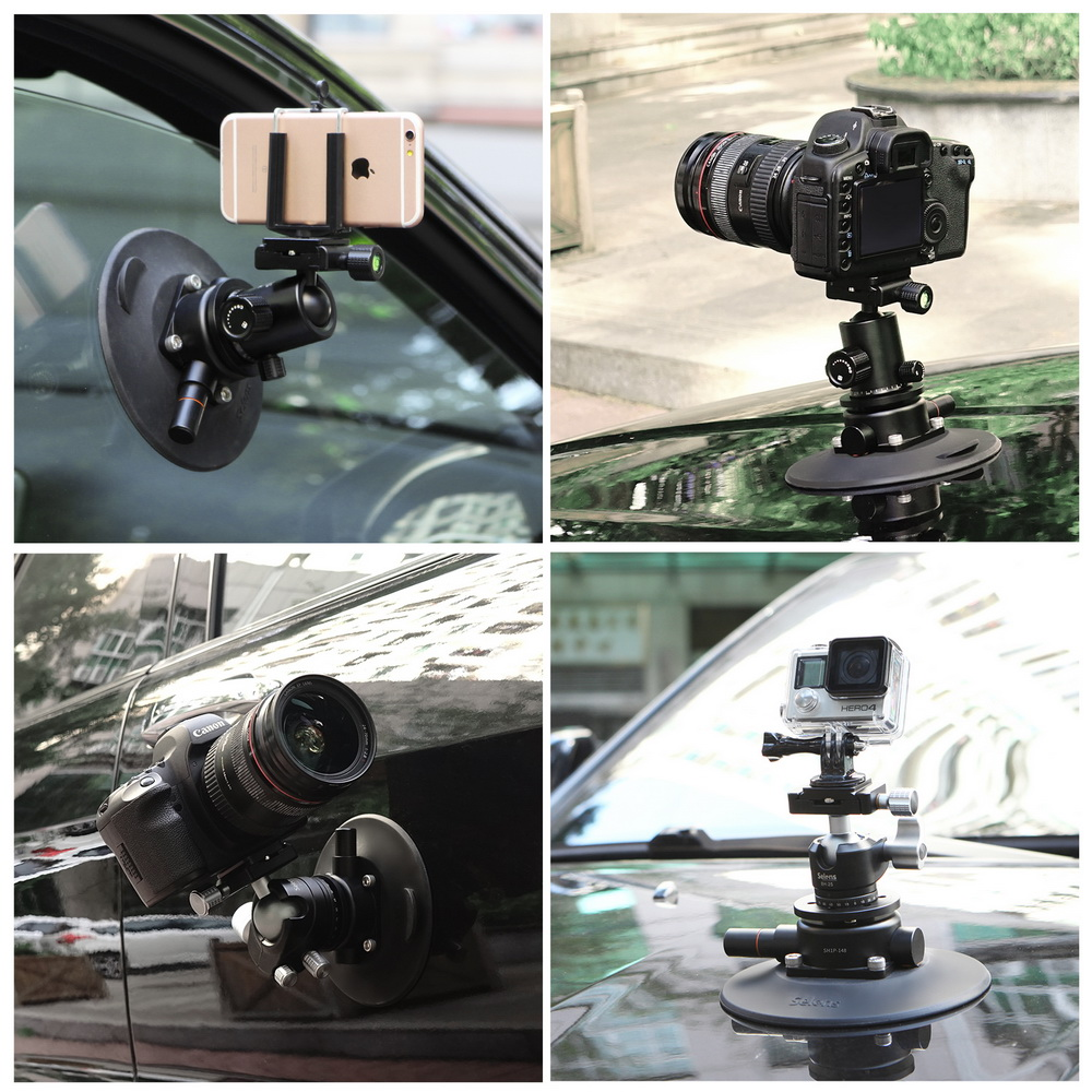 Selens 5 9 Inch Power Grip Vacuum Suction Cup Camera Mount System for DSLR Camera Video