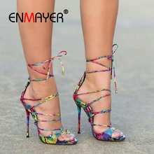ENMAYER 2019 New Arrival Ankle Strap Women Super High Sexy Sandals  PU Basic Party Woman Summer Size 34-45 LY2313