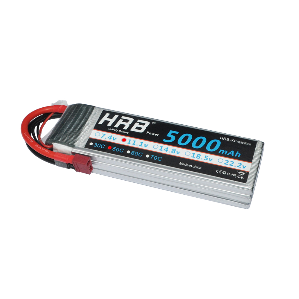 HRB Lipo Battery 3S 11.1V 5000mAh 50C XT60 T Deans EC5 XT90 TRX Bateria RC Parts for HSP Airplane Crawler Racing Cars 1/10 Boat
