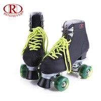 Reniaever patins à roulettes double ligne patins noir femmes dame adulte vert led éclairage 4 roues deux ligne de patinage chaussures patines