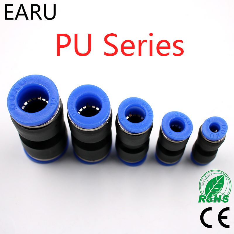 5pcs PU 4 6 8 10 12 14 MM Straight Push in Fitting Pneumatic Push to Connect Air Quick Fitting Plug Socket pg4 6 4 8 6 8 6 10 8 10 8 12 10 12mm straight union reducer fitting pneumatic push to connect air