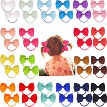 "40pcs/20pairs 2.75"" Boutique Hair Bows Tie Baby Girls Kids Children Rubber Band Ribbon Hair bands(China)"