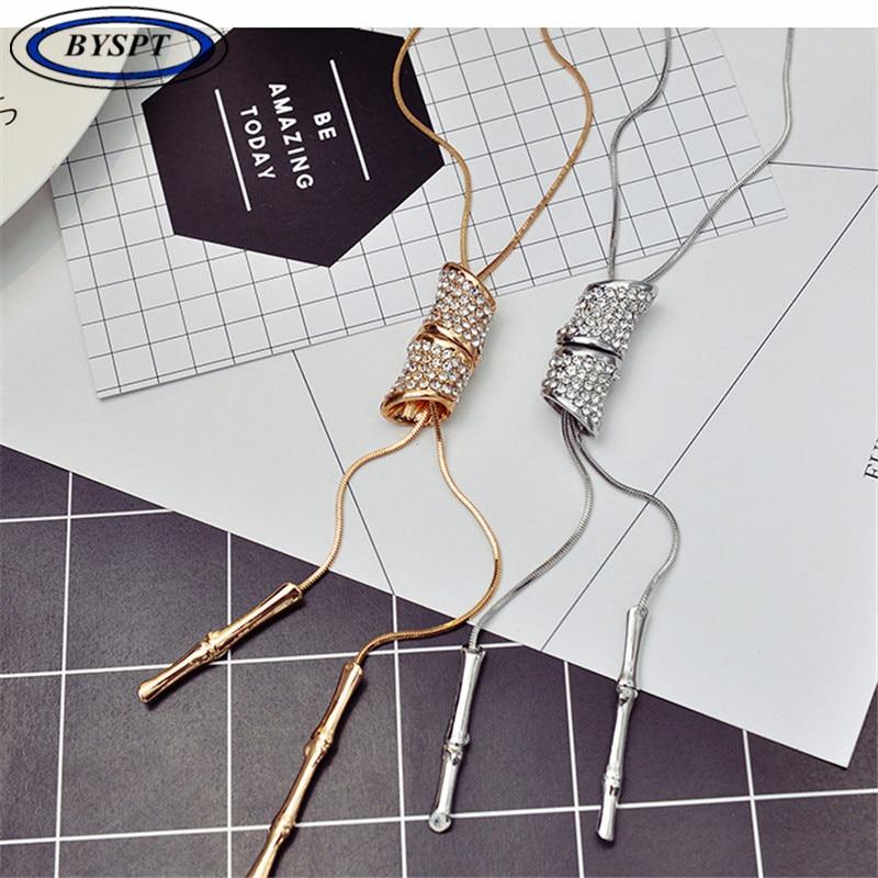 Slub Crystal Long Sweater Chain Necklace Vintage Accessary Crystal - Bizhuteri të modës - Foto 2