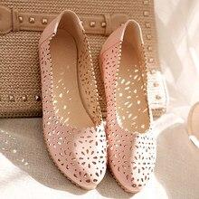 Большой Size43 Мода Острым Носом кожа Квартиры Женщины Летние Ботинки Zapatos Mujer Дизайнер Квартиры перфорация отверстия выдалбливают