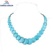 CAMDOE DANLEN Fashion Women Necklaces Blue Howlite Turquoises Round Gem Vintage Necklace 20″ Long Statement Necklace Pendants