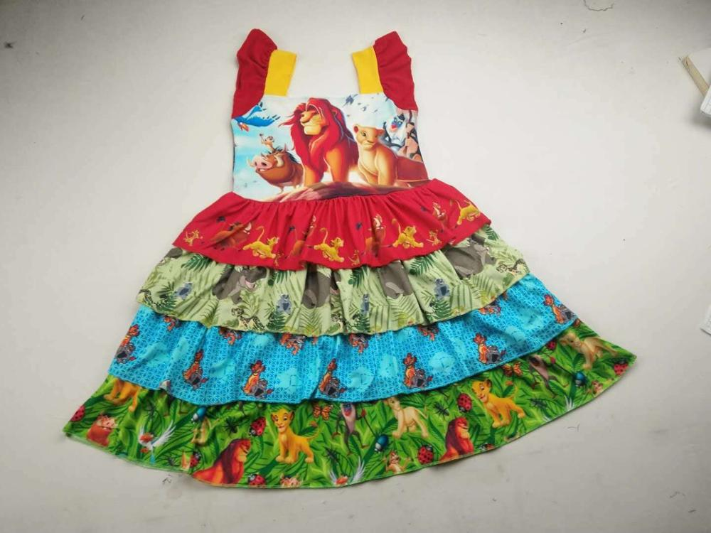 hot sell girls cartoon dress Lion King sassy kids boutique dress(China)