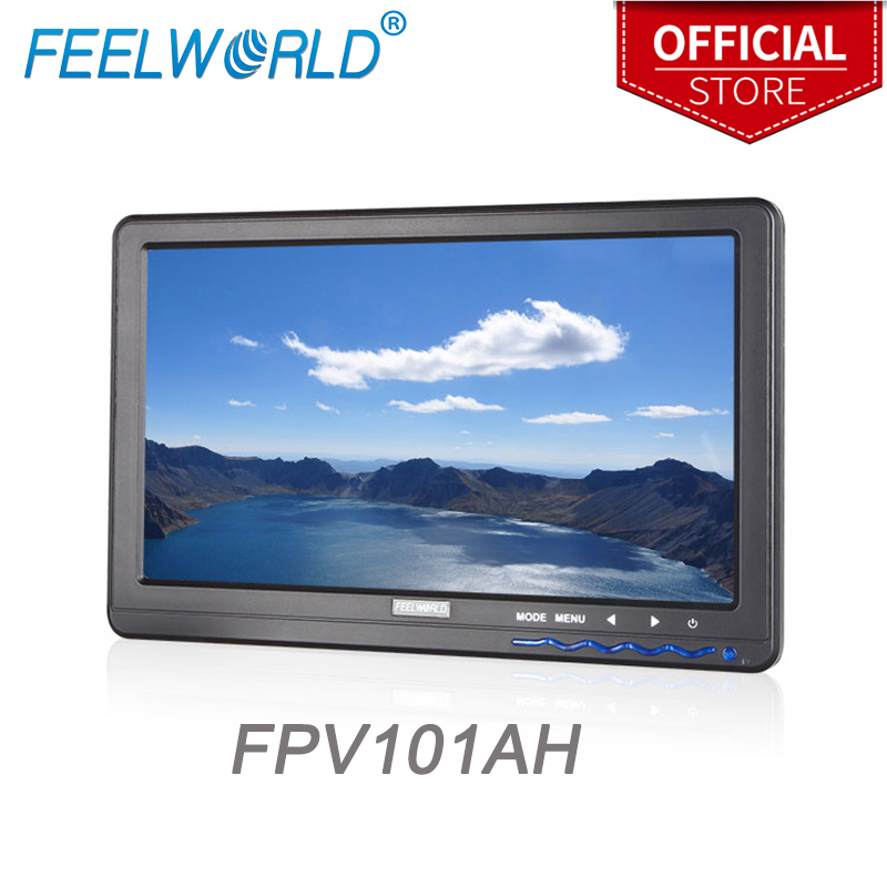 Feelworld FPV101AH 10.1 Inch IPS 1024x600 HD FPV Monitor with HDMI VGA Audio Video for Aerial Photography Ground Station free shipping feelworld fpv101a hd 10 1024x600 fpv video monitor screen for camera drone dji