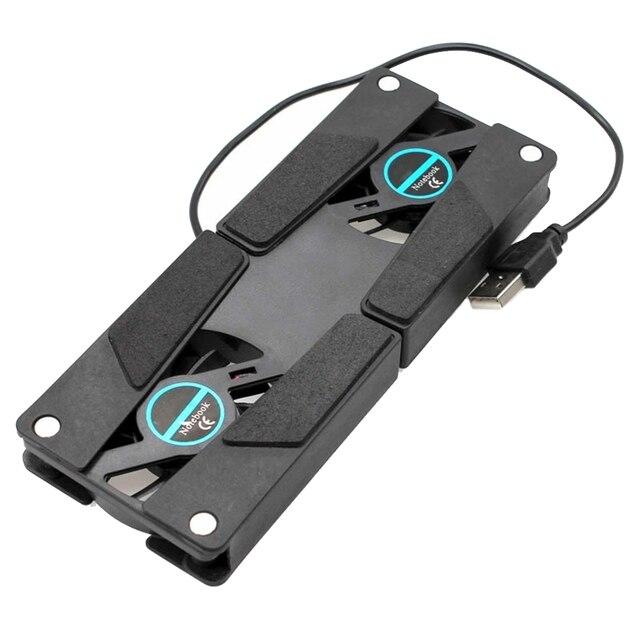 Laptop Desk Support Dual Cooling Fan Notebook Computer Stand Foldable USB Rack Holder Black 1