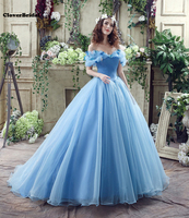 Off The Shoulder Tulle Butterfly Cinderella Iced Blue Cheap Quinceanera Gowns Azul Gelado Vestidos De Quinceanera