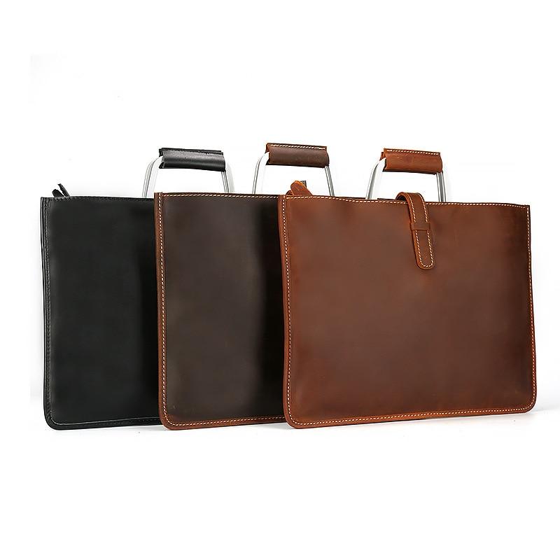Joyir 2019 Crazy horse mallette en cuir pour homme couleur café vintage hommes véritable sac messenger en cuir sacs d'affaires homme - 6
