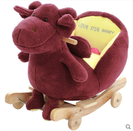 Kingtoy Plush Baby Rocking Lion Chair Children Wood Swing Seat Kids Outdoor Ride on Stroller Toy