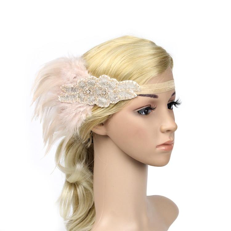 Vintage Feather Headband 1920s Headpiece Headdress Beige Black Diamond Hiar Band For Carnival Hen Party Event headpiece