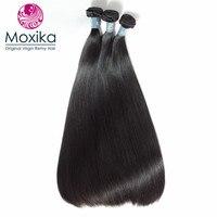 Moxika Unprocessed Brazilian Virgin Hair Straight 3bundles 100% brazilian Hair Weaves bundle double drawn thick end