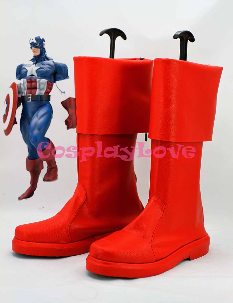 Newest Custom Made Movie Red Captain America The First Avenger Steve Rogers Cosplay Shoes Long Boots For Halloween