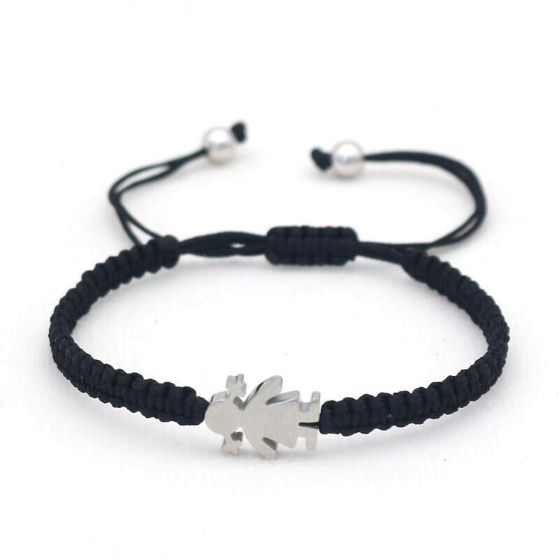 Милый браслет из нержавеющей стали для маленькой девочки, очаровательный Модный ручной Плетеный женский браслет на удачу с Красной веревко...