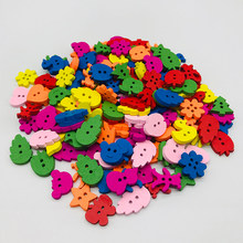 Mixed Animals fruits 2Hole Wooden Buttons for Scrapbooking Crafts DIY Baby Children Clothing Sewing Accessories Button 20 pcs(China)