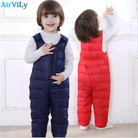 2017 New Winter Children Kids Duck Down Bib Pants For Girls Overalls Autumn Toddler Boys Warm